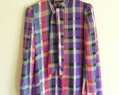 bright plaid ascot dress blouse top