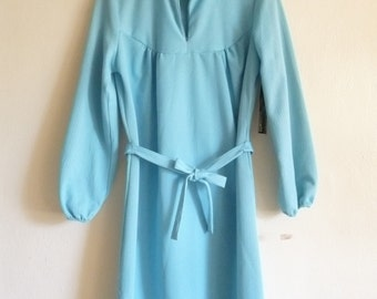 turquoise blue shift dress, small medium