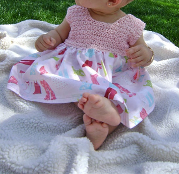 Crochet and Fabric Dress Pattern for Girly Twirly Dress INSTANT DOWNLOAD