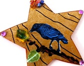Black Crow Handmade Ornament Star Raven Bird Halloween Poe Nevermore