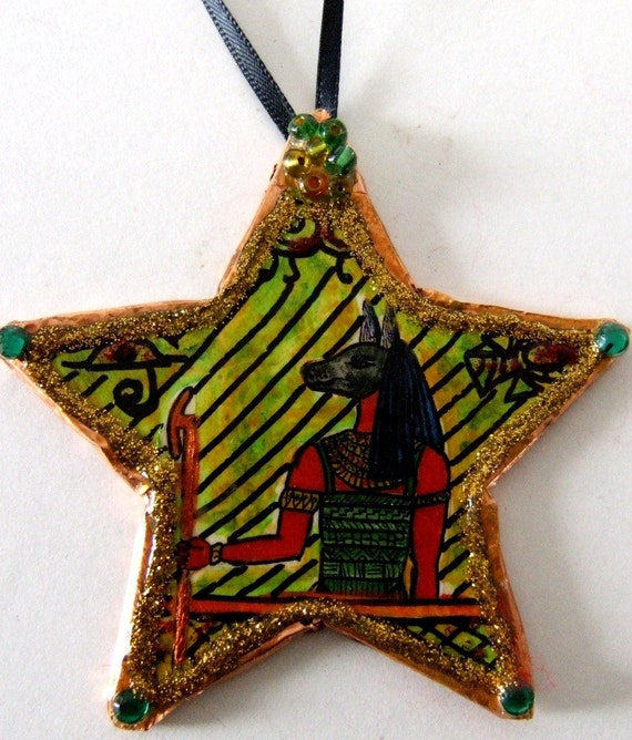 Hand made Egyptian Anubis Ornament Day of the Dead Halloween Caretaker
