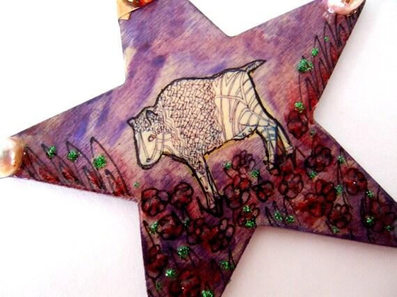 Handmade White Buffalo Calf Sacred Totem Plains Native Americans Star Ornament Bull Ox