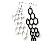 Leather Earrings, Geometric Earrings, Modern Jewelry, Chemistry Geekery, Molecules Hexagon Jewelry