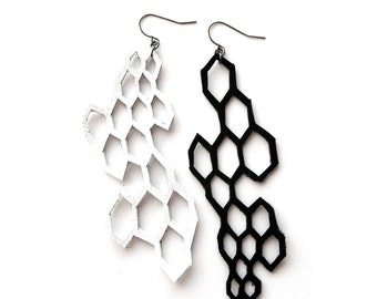 Leather Earrings, Geometric Earrings, Modern Jewelry, Chemistry Geekery, Molecules Hexagon Jewelry