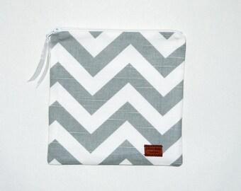 Gallon Size Reusable Bag - Gray and White Chevron