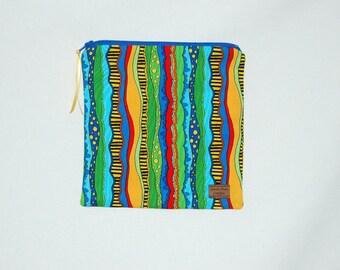 Sandwich Size Reusable Bag - Fiesta Stripe - Zippered Bag - Zipper Closure
