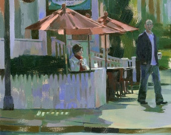 romantic cafe original oil painting 16x20 - Her First Glimpse