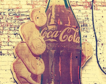 industrial decor, coca cola sign photography, Nashville art, vintage coke signage, wall art photo, industrial wall art, Nashville prints
