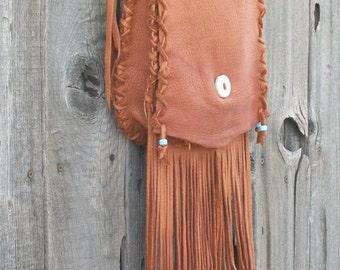 Handmade leather purse ,   Fringed leather handbag ,   Fringed leather crossbody bag ,  Boho hippie handbag