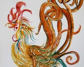 Rooster Art - Golden Swirly Heart Rooster - cocky, spirited, year of the rooster
