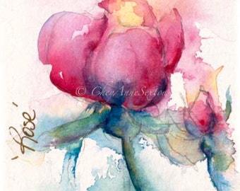 Valentine watercolor art print Mother's Pink Rose of Love Fuchsia Pink Garden Art Rose giclee watercolor Print baby girl nursery art