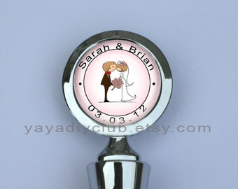 Custom Personalized Wedding Wine Stopper - bride and groom with custom wedding names and date - unique wedding gift party favors