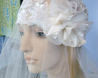Lace Bridal Cap Downton Abbey Cloche Beaded Wedding Head Piece with silk flower