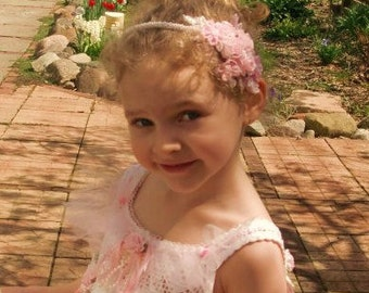 Flower Girl Headband, Bridal Headpiece, Pink Satin and Beaded Headband, for Bride or Prom OOAK