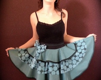 Apron Polka Blue Couture Artistic Apron by Trish Vernazza Featured on Cover of Apronology Magazine 2013