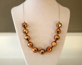 "Elegant, Blingy, Gold, Metallic, Floating Necklace with 1970s Vintage Lucite Faceted Beads / Full of Sparkle / ""TICO"""