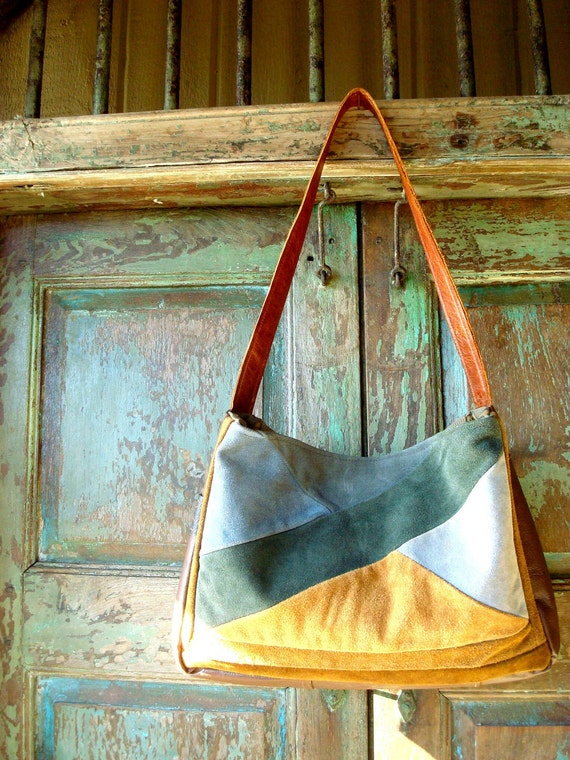 Sale.....Handmade  Brown Leather Messenger Bag with Blue and Gold Suede Accents