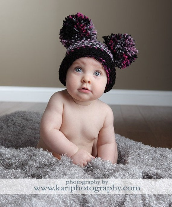 Baby Ear Hat - Pink Plaid Pom Pom Hat - Pink Plaid - Knit Hat - 6 to 12 months - Photography Prop