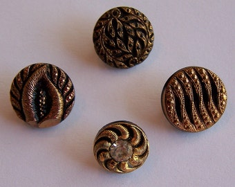 Vintage 40s Buttons 4 Gold Luster Black Glass Mixed Button Lot
