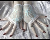 Winterborn Lace Fingerless Gloves | Pale Ice Blue Floral White Ruffle | Wedding Gothic Steampunk Alice Noir Lolita Regency Bridal Sheer Goth