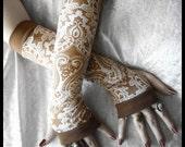 Namaste Ji Arm Warmers - Mocha Brown Tan & White Mehndi Damask Paisley Design - Yoga Gothic Dark Cycling Bohemian Boho Gypsy Gaia Earth
