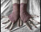 Elise Lace Fingerless Gloves - Dusky Plum Mauve Embroidered Floral - Gothic Victorian Vampire Regency Tribal Austen Lolita Wedding Bridal