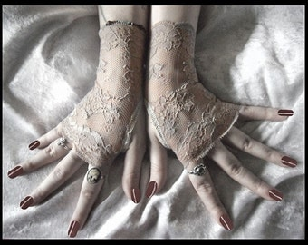 Sand Siren Long Lace Fingerless Gloves | Oatmeal Nude Floral | Gothic Vampire Lolita Wedding Fetish Goth Elegant Tribal Gypsy Cabaret Bridal