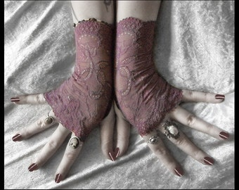 Elise Lace Fingerless Gloves - Dusky Plum Mauve Embroidered Floral - Gothic Victorian Vampire Regency Tribal Austen Lolita Wedding Bridal