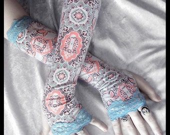 Asylum Arm Warmers | Mint Green Chocolate Brown White Peach Pink Mehndi Cameo Mandala | Sea Blue Lace | Gothic Tribal Bellydance Yoga Lolita