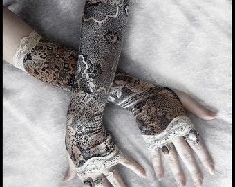 Candlelight Cabaret Arm Warmers - Faux Lace Print - Black Tan Cream & Ivory Lace - Steampunk Noir Gothic Yoga Romantic Lolita Goth Bohemian