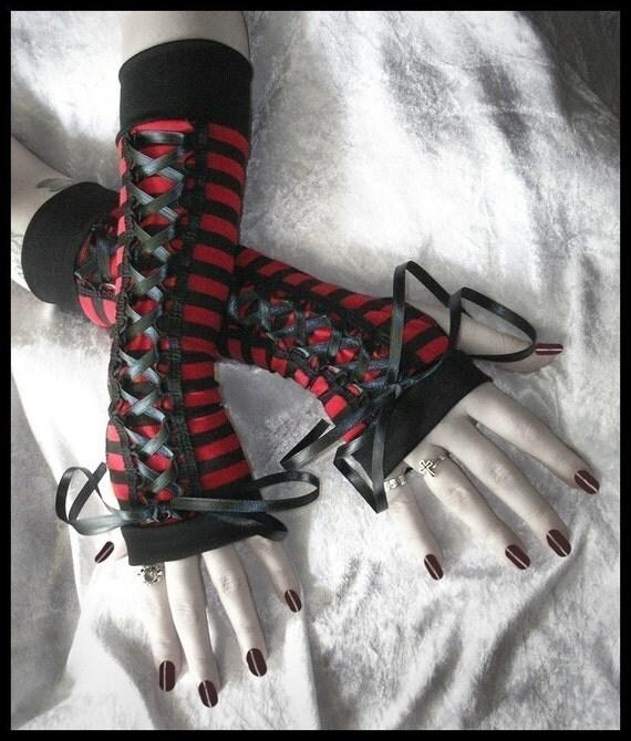 Marilyn My Bitterness Gothic Lolita Corset Laced Up Arm Warmers | Red Black Stripes & Ribbon | Vampire Dark Wedding Emo Carnival Goth