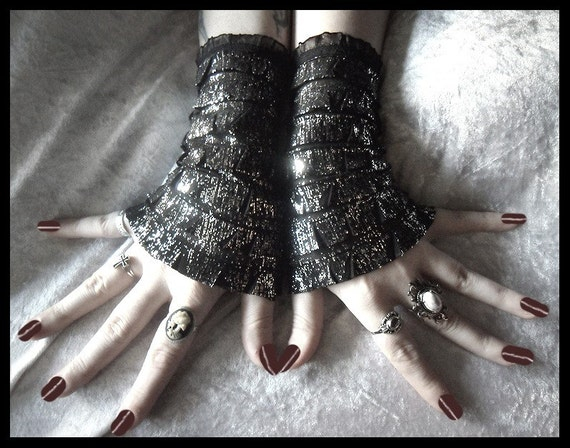 Rain Dance Arm Warmer Wristlets - Black - Ruffled Metallic Silver Shine Foil - Gothic Dark Fetish Burlesque Goth Vampire Lolita Rococo Glam