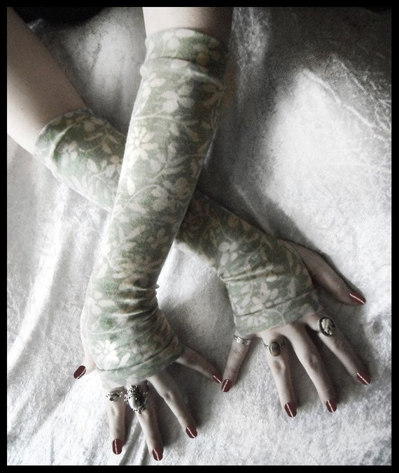 Dew Drenched Arm Warmers - Pale Sage Green - White Floral Burnout Cotton - Yoga Gothic Tribal Celery Goth Gypsy Boho Earth Cycling Light