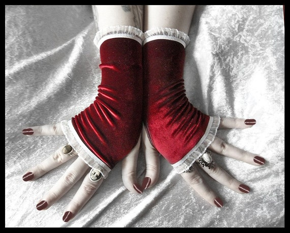 The Passion of Lovers Fingerless Gloves - Deep Wine Red Velvet White Ruffle Lace - Vampire Boho Dark Tribal Belly Dance Elegant Emo Goth
