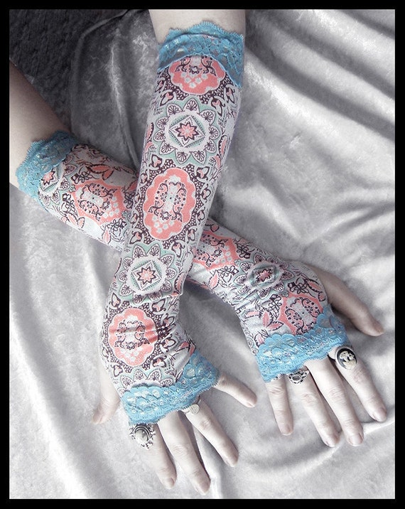 Asylum Arm Warmers | Mint Green Chocolate Brown White Peach Pink Mehndi Cameo Mandala | Sea Blue Lace | Gothic Tribal Bellydance Yoga Lolita