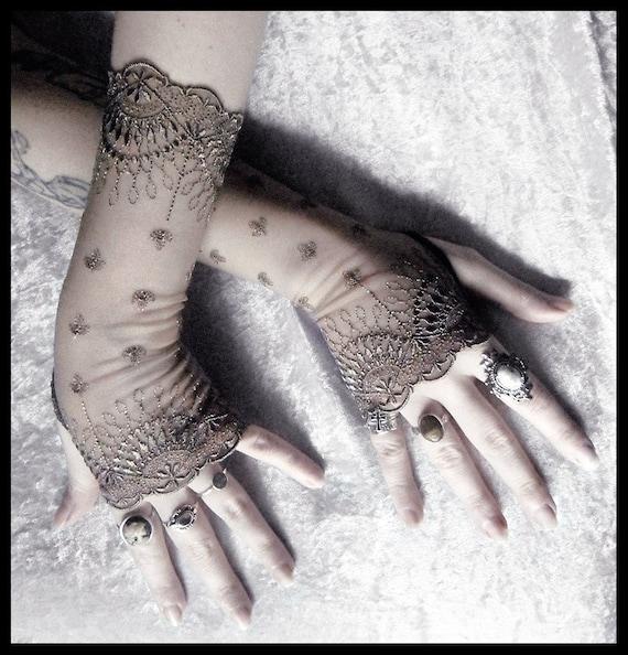 Bianca Long Lace Fingerless Gloves - Grey Olive Embroidered Damask - Gothic Vampire Wedding Fetish Tribal Bellydance Burlesque Goth Bridal