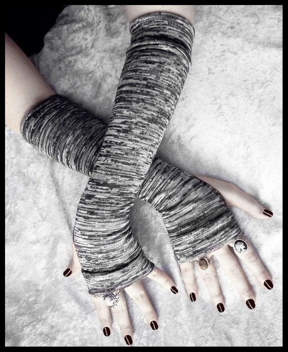 Gneiss Arm Warmers - Dark Charcoal Steel Grey White Striped Sweater Knit - Gothic Vampire Dark Bellydance Cycling Fall Running Emo Yoga Goth
