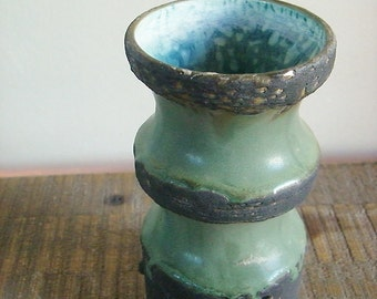 Mid Century Lava Art Pottery Vase Olive Green with Robins Egg Blue Interior