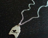 Silver Bird On A Branch Necklace
