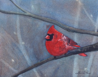 Cardinal Watercolor Painting - Fine Art Archival Print - Limited Edition Bird Art by Laura D. Poss