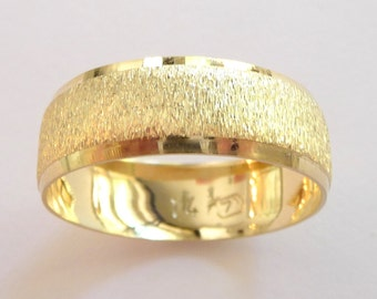 Yellow gold wedding band women men wedding ring domed with deep rough sandblast 8mm wide