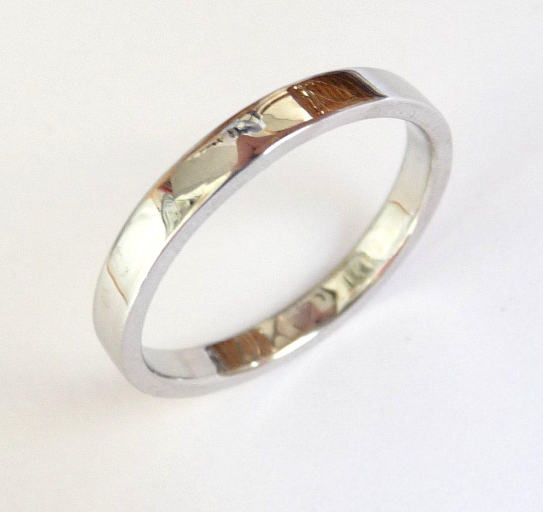 White Gold Wedding Ring Shiny Polished Thick Wedding Band For