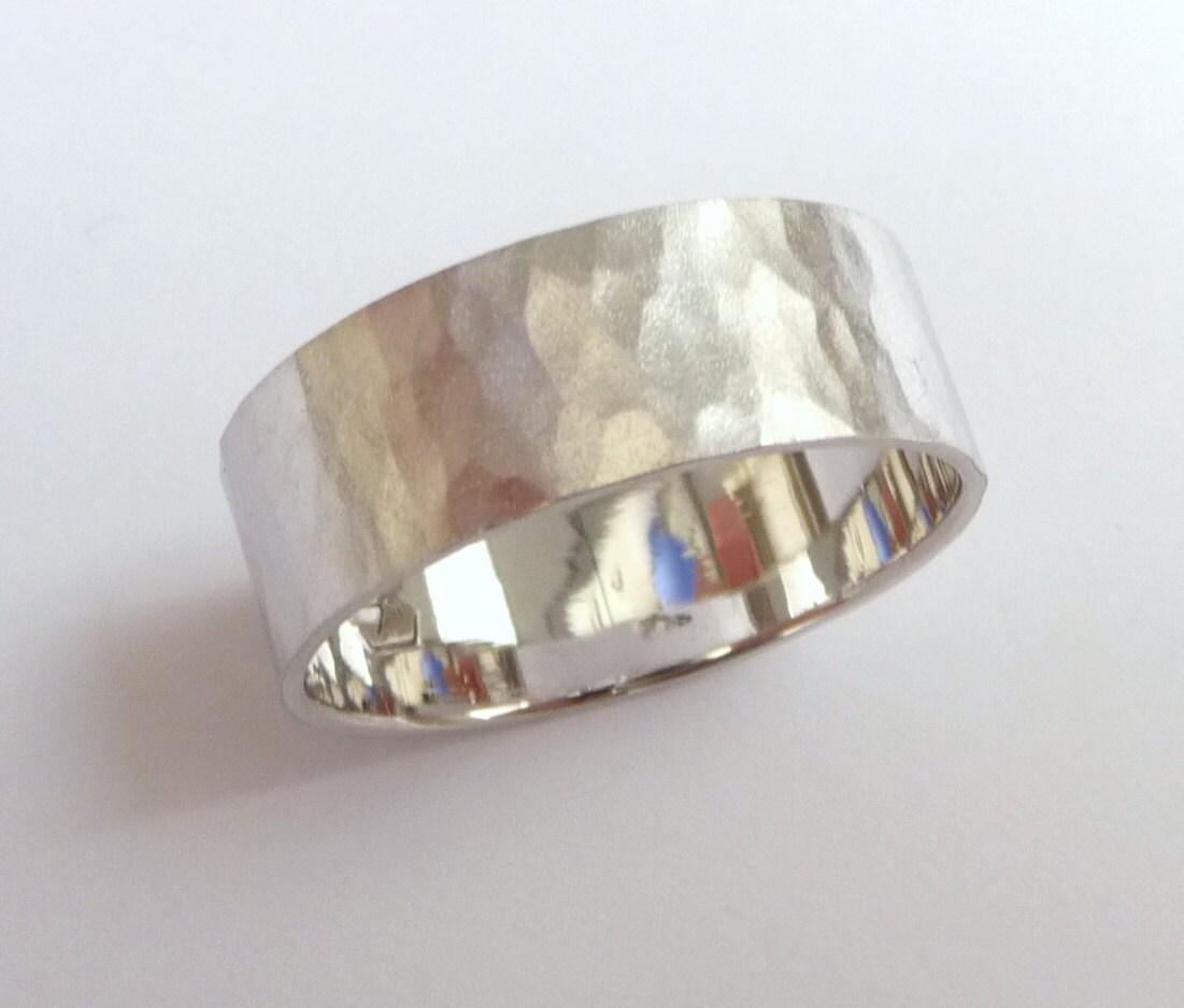 Mens hammered wedding band women and mens wedding ring