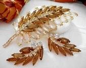 Vintage Botanical Brooch Earrings Set