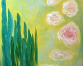"16 x 20 "" Japanese Garden- abstract original camellia koi pond acrylic painting"