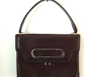 60s purse - 60s handbag - 1960s mod handbag - chocolate brown leather bag