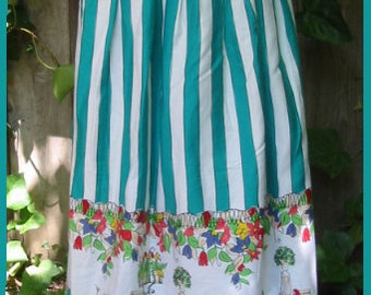 VINTAGE 1960s  - Striped green Egyptian cotton skirt