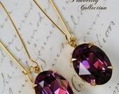Amethyst Earrings, Swarovski Crystal, Radiant Orchid