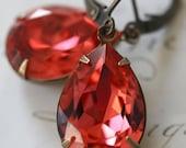 Estate Style Earrings, Padparadscha Swarovski Crystal Earrings, Tear Drop, Pink, Orange