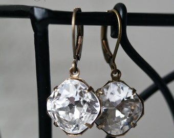 Cushion Cut Earrings, Swarovski Crystal Earrings, Vintage Style Earrings, Diamond Clear Earrings, 12mm